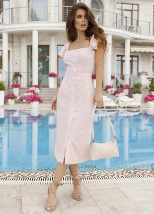 Розовый сарафан с рюшами и перфорацией