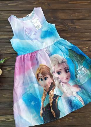 Нарядное платье на девочку с эльзой 8-10 лет h&m