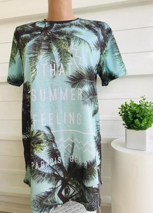 Крутейшая брендовая футболка платье в летний принт пальмы и надписями🌴