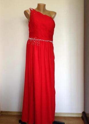 Красное длинное вечернее платье на одно плечо/m/