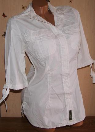 Белоснежная легкая блузв-рубашка, размер 36/38