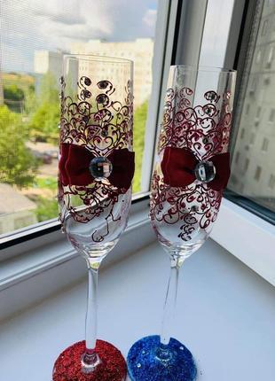 Продам свадебные бокалы ручной работы