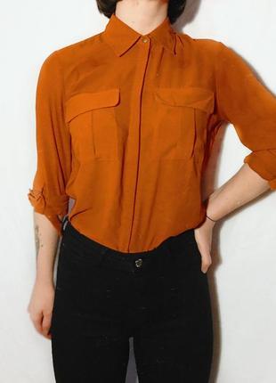 Крутая рубашка кирпичного цвета тренд 2020 лето