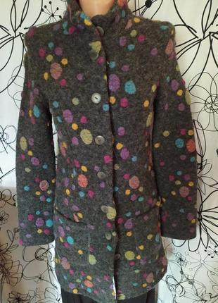Валяное пальто в разноцветные горошки,80%шерсть,vivanda
