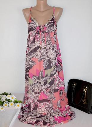 Яркое шифоновое макси платье сарафан next индия принт цветы этикетка