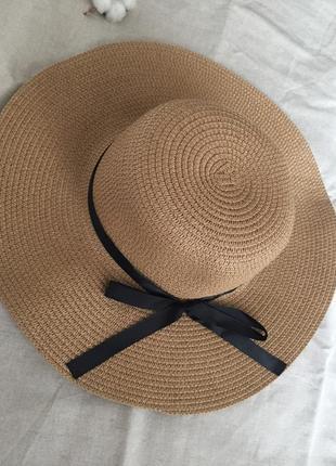 Соломенная шляпа канотье , шляпа с широкими полями, широкополая шляпа летняя пляжная