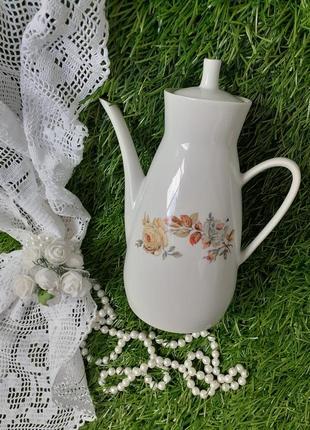 Кофейник чайник фарфор полонное винтаж роза деколь