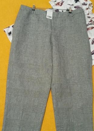 Батальные брюки в клетку лен/коттон!