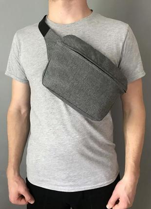Поясная сумка xl бананка серая сумка на плече