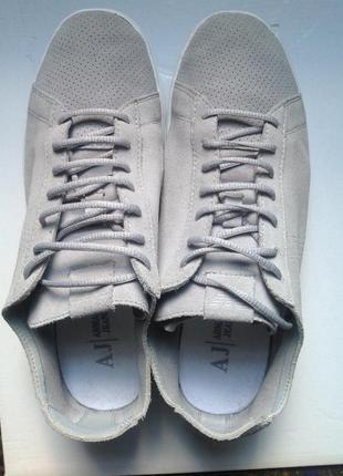 Кожаные кроссовки armani jiens 41(27-9.5) на широкую ногу