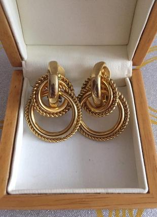 Винтажные серьги клипсы кольца золотистые сережки кліпси золотисті