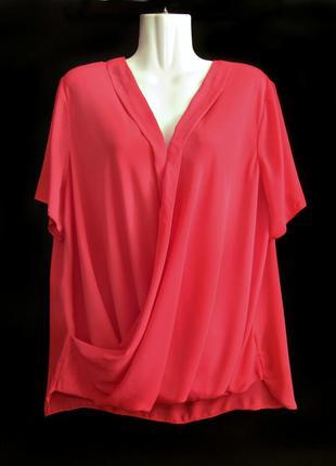Скидка жо 20.07! красивая удлиненная розовая блуза с драпировкой р.18