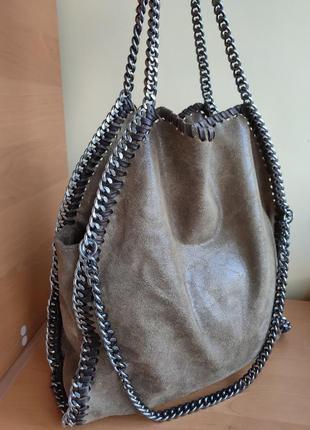 Кожаная итальянская сумка шоппер
