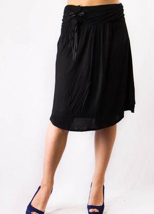 Юбка женская черная миди трикотаж zara (m)