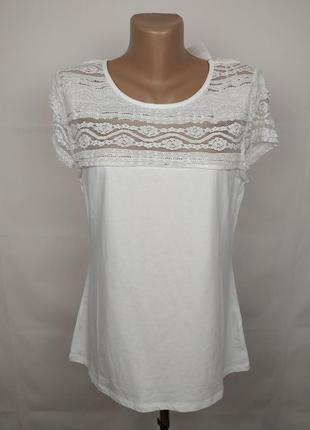Блуза белая шикарная с кружевной кокеткой h&m l