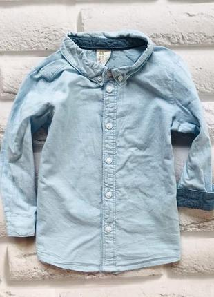 H&m стильная рубашка на мальчика 12-18 мес