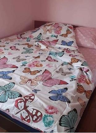 Натуральный комплект постельного белья двуспальный с бабочками