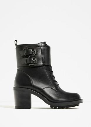 Ботинки со шнуровкой натуральная кожа от zara