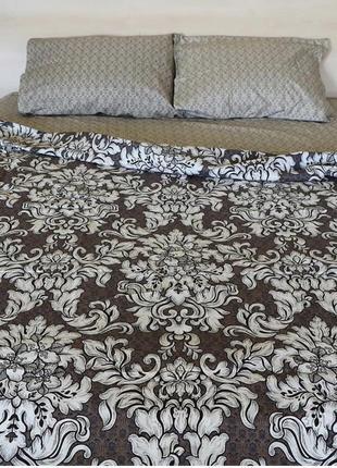 Комплект постельного белья из бязи евро размера в коричневых тонах