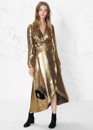 Невероятное золотое миди платье на запах & other stories, плаття, сукня