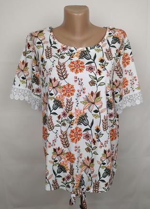 Блуза стильная трикотажная в тропический принт papaya uk 20/48/3xl