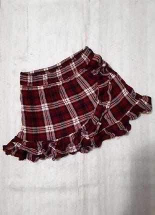 Next  распродажа  юбка в клеточку трапеция  короткая с рюшами  nex 3года