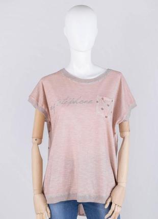 Стильная женская футболка батал пудра оверсайз свободная большой размер