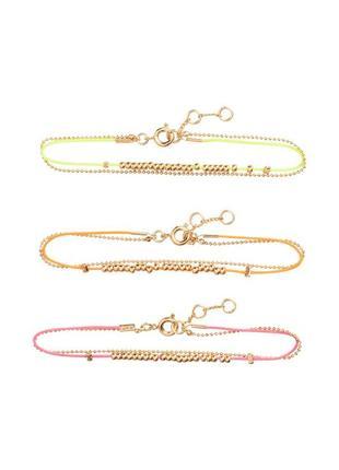 Набор 3 неоновых браслета с золотистыми бусинами, h&m