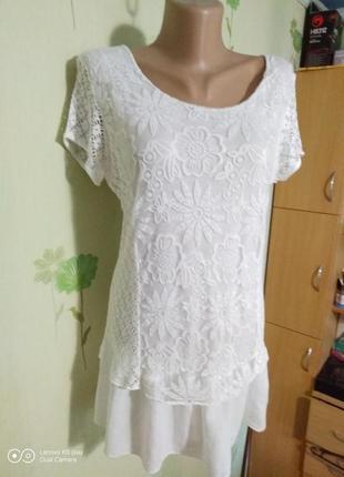 Шикарная белоснежная футболочка- блуза-туника-мини платье--m-италия