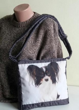 Сумочка планшет на плечо деми принт собачка серый дутик