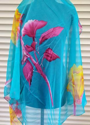Пляжный платок летнее парео накидка парэо насыщенный голубой
