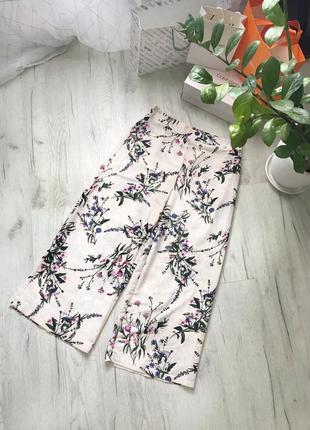 Брюки кюлоты широкие штаны палаццо цветочный принт цветочные как zara mango h&m boohoo