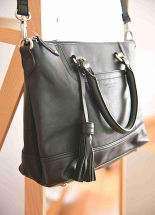 Tignanello кожаная женская сумка черная тоут деловой портфель