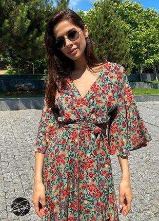 Платье миди с цветочным принтом зеленый4 фото