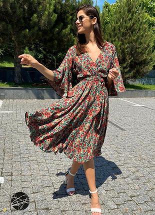 Платье миди с цветочным принтом зеленый2 фото