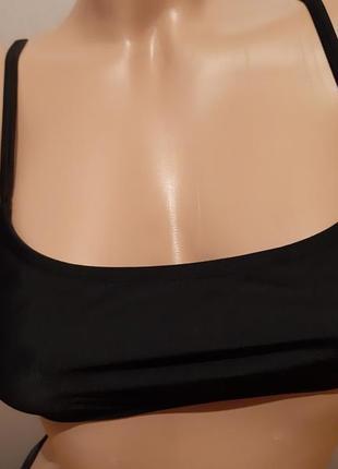 Хит! базовый чёрный раздельный купальник с топом, плавки бразилиана4 фото