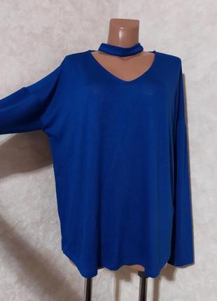 Стильный синий джемпер блуза оверсайз, gina tricot, xl-xxl