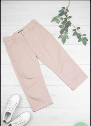 Стильные бежевые джинсовые шорты бриджи капри