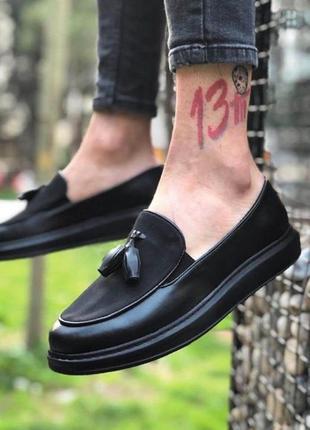 Туфли лоферы мужские чёрные топ мезона лето весна осень