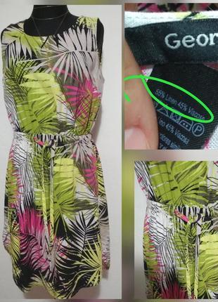 Фирменные натуральное льняное платье в стильный принт листья вискоза лён качество!
