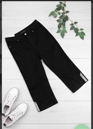 Стильные черные джинсовые шорты бриджи капри со стразами большой размер батал