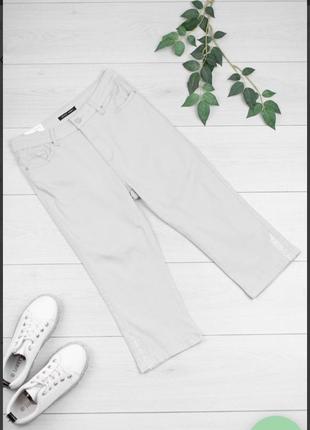 Стильные серые джинсовые шорты бриджи капри со стразами большой размер  батал