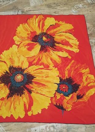 Basile платок шёлк красный яркий оригинал