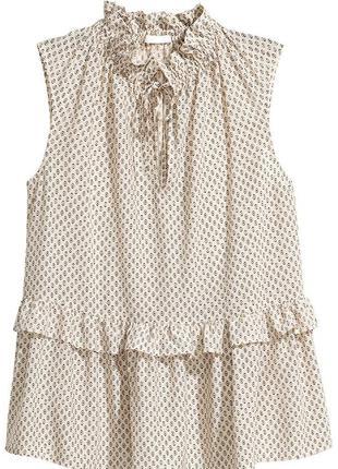 Блуза светло-бежевая в принт h&m