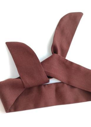 Коричнева повязка на голову солоха  de lux тканина під шовк