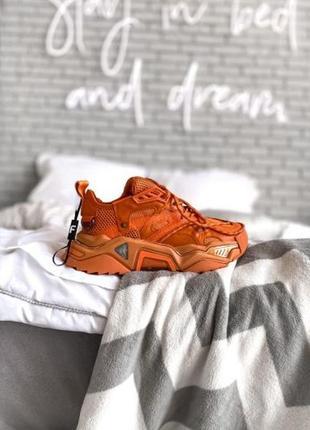 Женские кожаные кроссовки calvin clein orange ◈ кеды ◈ оранжевого цвета 😍