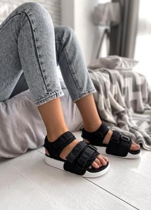 Женские летние босоножки adidas adilette sandal black ◈ сандалии черного цвета😍