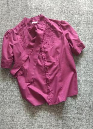 Красивая натуральная хлопковая блузка цвет  темной сирени.