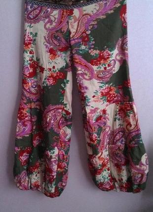 Джинсы, штаны в восточном стиле с вышитым поясом, бисер, хлопок
