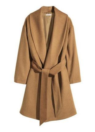 Шикарное кашемировое пальто на запах горчичного цвета,красивое шерстяное пальто h&m